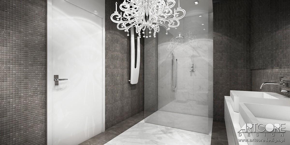 Domy i mieszkania, High Flight - projekt apartamentu w Warszawie - Projekt wnętrza jasnej łazienki. Projektowanie wnętrz ArtCore Design.