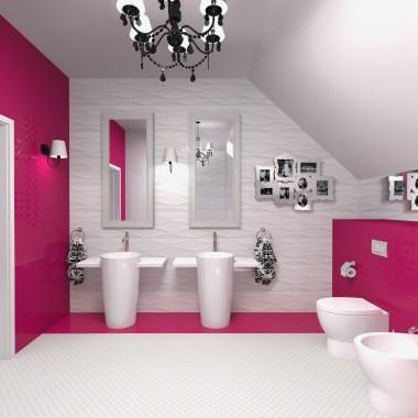 Amarantowa łazienka