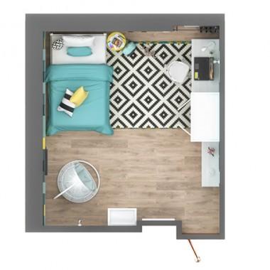 Aranżacja tego wnętrza została dostosowana do istniejących już mebli. Dominującym kolorem w pokoju jest turkus, w którego odcieniach zaplanowaliśmy dwie ściany. Ścianę za łóżkiem w całości zdobią kolorowe, miękkie panele 3D, wykonane z gąbki.Do klasycznych białych mebli wybraliśmy ażurową huśtawkę, na metalowym stelażu. Natomiast nowoczesne dodatki ożywiły wnętrze, które stało się wymarzonym azylem dla nastolatki. Biało-czarny dywan z sieciówki, z mocnym geometrycznym wzorem oraz ciekawe oświetlenie dopełniają wnętrze.