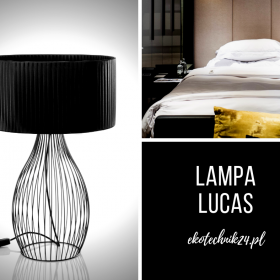 Druciana lampka biurkowa Lucas czarna