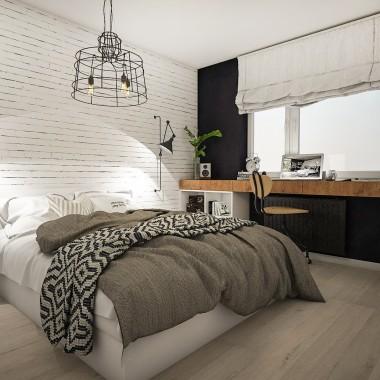 Loftowa sypialnia