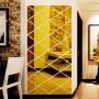 Salon, Złote lustro dekoracyjne Romby - Dekoracyjne lustro akrylowe Romb złote - 4fundesign.com