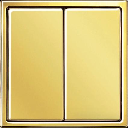 Instalacje, Inteligentny dom KNX - Przycisk podwójny pokryty cienką warstwą złota.