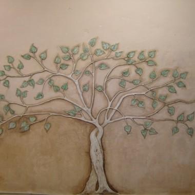 Artystyczne dekoracje ścienne - płaskorzeźba ścienna - drzewko.