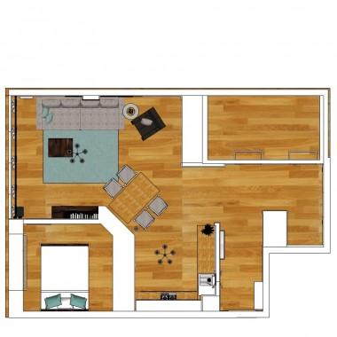 Plan zmienianej części mieszkania. Po prawej stronie brakuje pokoi moich Synków. A to pomieszczenie na górze po prawej to łazienka i WC - nie były zmieniane w trakcie remontu.
